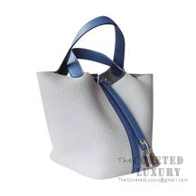 Hermes Picotin Lock 18 Bag 4Z Gris Mouette Clemence And R2 Blue Agate Swift SHW