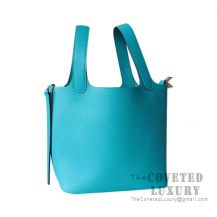 Hermes Picotin Lock 18 Bag 7F Blue Paon Clemence GHW
