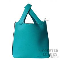Hermes Picotin Lock 18 Bag 7F Blue Paon Clemence SHW
