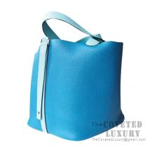 Hermes Picotin Lock 18 Bag 7W Blue Izmir And 3P Blue Atoll Clemence SHW