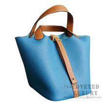 Hermes Picotin Lock 18 Bag 7W Blue Izmir And Ck37 Gold Clemence GHW