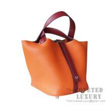 Hermes Picotin Lock 18 Bag 8V Orange Poppy And Ck55 Rouge H Clemence SHW
