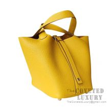 Hermes Picotin Lock 18 Bag 9D Ambre Clemence GHW