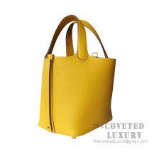 Hermes Picotin Lock 18 Bag 9D Ambre Clemence SHW
