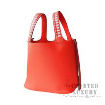 Hermes Picotin Lock 18 Bag 9T Capucine Clemence SHW