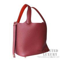 Hermes Picotin Lock 18 Bag CK55 Rouge H And 8V Orange Poppy Clemence GHW