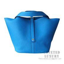 Hermes Picotin Lock 18 Bag B3 Blue Zanzibar Clemence GHW