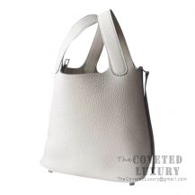 Hermes Picotin Lock 18 Bag CC10 Craie Clemence SHW
