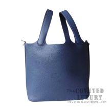 Hermes Picotin Lock 18 Bag CC73 Blue Saphir Clemence SHW