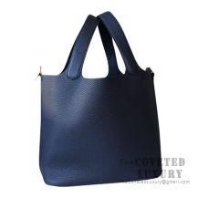 Hermes Picotin Lock 18 Bag CC76 Blue Indigo Clemence GHW