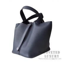 Hermes Picotin Lock 18 Bag CC76 Blue Indigo Clemence SHW