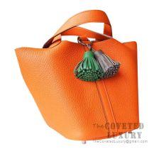 Hermes Picotin Lock 18 Bag CC93 Orange Clemence SHW