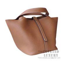 Hermes Picotin Lock 18 Bag CK37 Gold Clemence GHW