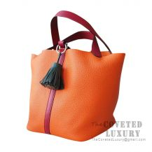 Hermes Picotin Lock 18 Bag CK93 Orange Clemence And K1 Rouge Grenat Swift SHW