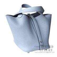 Hermes Picotin Lock 18 Bag J7 Bleu Lin Clemence SHW