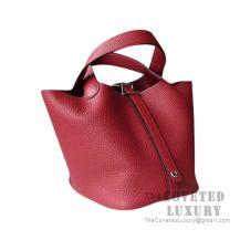 Hermes Picotin Lock 18 Bag K1 Rouge Grenat Clemence SHW
