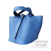 Hermes Picotin Lock 18 Bag R2 Blue Agate Clemence SHW