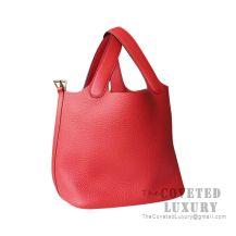 Hermes Picotin Lock 18 Bag S3 Rouge De Coueur Clemence GHW