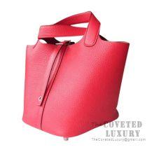 Hermes Picotin Lock 18 Bag S3 Rouge De Coueur Clemence SHW