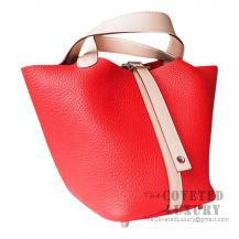 Hermes Picotin Lock 18 Bag S5 Rouge Tomate Clemence And P1 Rose Eglantine Swift SHW