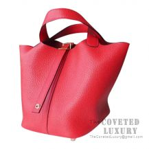 Hermes Picotin Lock 18 Bag S5 Rouge Tomate Clemence GHW