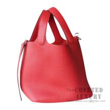 Hermes Picotin Lock 18 Bag S5 Rouge Tomate Clemence SHW