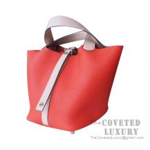 Hermes Picotin Lock 18 Bag S5 Rouge Tomate And P1 Rose Eglantine Clemence SHW