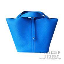 Hermes Picotin Lock 18 Bag T7 Blue Hydra Clemence SHW