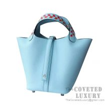 Hermes Picotin Lock 22 Bag 3P Blue Atoll Clemence Tressage De Cuir Handle SHW