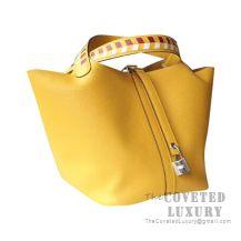 Hermes Picotin Lock 22 Bag 9D Ambre Clemence Tressage De Cuir Handle SHW