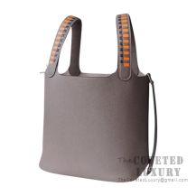 Hermes Picotin Lock 22 Bag M8 Gris Asphalt Clemence Tressage De Cuir Handle SHW