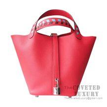 Hermes Picotin Lock 22 Bag S3 Rouge De Coueur Clemence Tressage De Cuir Handle SHW