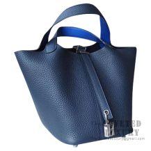 Hermes Picotin Lock 22 Bag 2Z Bieu Nuit Clemence 7T Blue Electric Handle SHW
