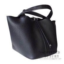Hermes Picotin Lock 22 Bag 89 Noir Clemence Matte Alligator Handle SHW