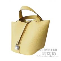 Hermes Picotin Lock 22 Bag 1Z Jaune Poussin Clemence SHW