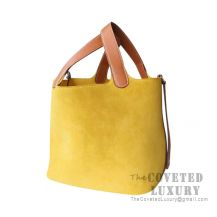 Hermes Picotin Lock 22 Bag 1Z Jaune Poussin Grizzly And Barenia SHW