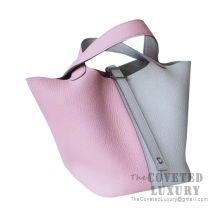 Hermes Picotin Lock 22 Bag 3Q Rose Sakura And CC80 Pearl Grey Clemence SHW