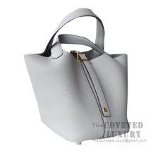 Hermes Picotin Lock 22 Bag 4Z Gris Mouette Clemence SHW