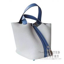 Hermes Picotin Lock 22 Bag 4Z Gris Mouette Clemence And R2 Blue Agate Swift SHW