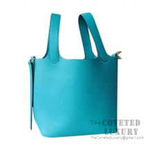 Hermes Picotin Lock 22 Bag 7F Blue Paon Clemence GHW