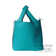 Hermes Picotin Lock 22 Bag 7F Blue Paon Clemence SHW
