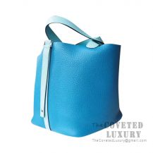 Hermes Picotin Lock 22 Bag 7W Blue Izmir And 3P Blue Atoll Clemence SHW