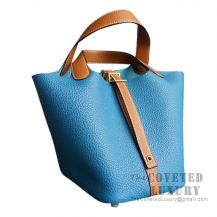 Hermes Picotin Lock 22 Bag 7W Blue Izmir And CK37 Gold Clemence GHW