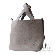 Hermes Picotin Lock 22 Bag 8F Etain Clemence SHW