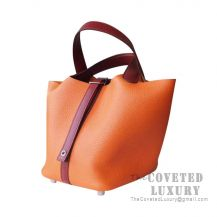 Hermes Picotin Lock 22 Bag 8V Orange Poppy And CK55 Rouge H Clemence SHW