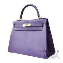 Hermes Kelly 28 Handbag 9W Crocus And 7B Turquoise Blue Chevere GHW