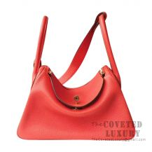 Hermes Lindy 26 Bag 8V Orange Poppy Clemence GHW