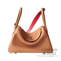 Hermes Lindy 26 Bag CC37 Gold And S3 Rouge De Coeur Clemence SHW