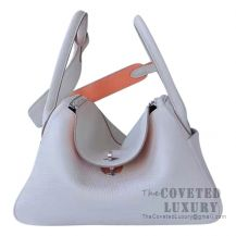 Hermes Lindy 26 Bag CC80 Pearl Grey And L5 Crevette Clemence SHW