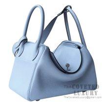 Hermes Lindy 26 Bag J7 Bleu Lin Clemence SHW